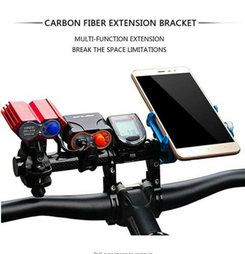 Carbon Bicycle Handlebar Extender Mount Bike Cycling Headlight Bracket Holder