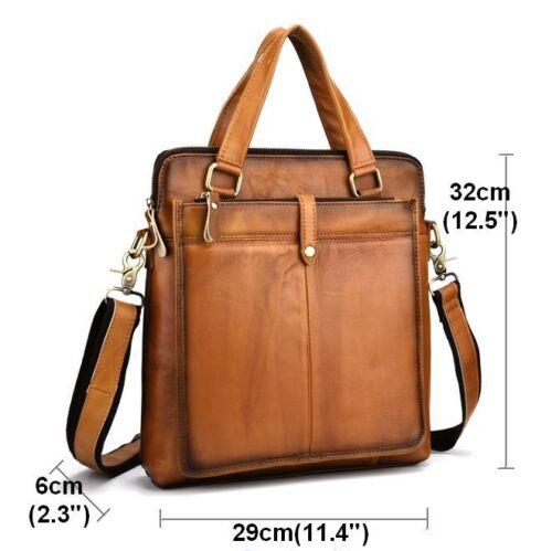Retro Men/'s Genuine Cow Leather Messenger shoulder Bag Handbag Travel Bag Brown