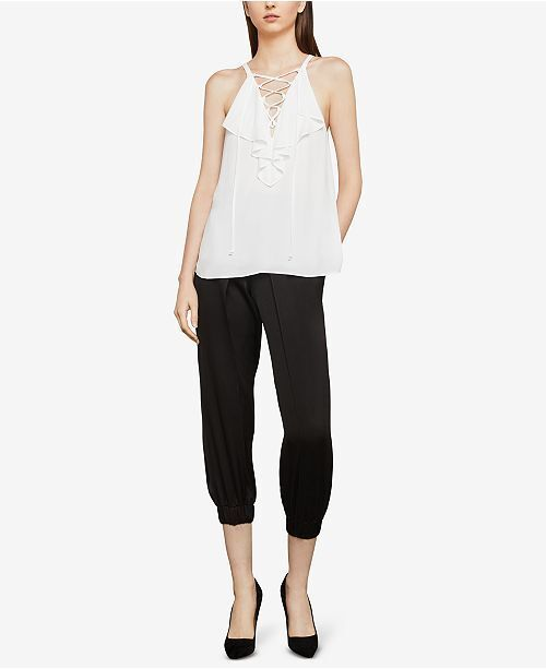 BCBGMAXAZRIA Lace-Up Ruffle Tank Top Weiß XXSmall New W Tag