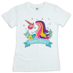 5830ed0c Image is loading Personalised-Girl-039-s-Unicorn-Printed-T-Shirt-