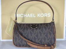 NWT Authentic Michael Kors Brown PVC Convertible Pouchette Crossbody Bag Purse