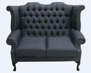 Image Is Loading Chesterfield 2 Seater Queen Anne High Back Sofa