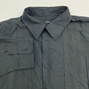 Alfani-Button-Up-Shirt-Men-039-s-Size-2XL-XXL-Long-Sleeve-Green-Black-Striped