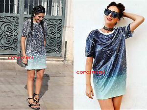 354c4583 Image is loading ZARA-NEW-SEQUIN-T-SHIRT-ombre-dress-size-