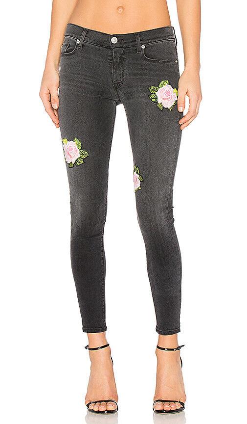 NEW Hudson Nico Midrise  Skinny Jeans Dark Wash Floral embroidery denim  265 23