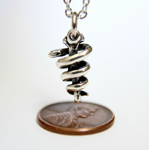 Sterling Silver Rod of Asclepius Pendant Necklace  Staff of Aesculapius Snake