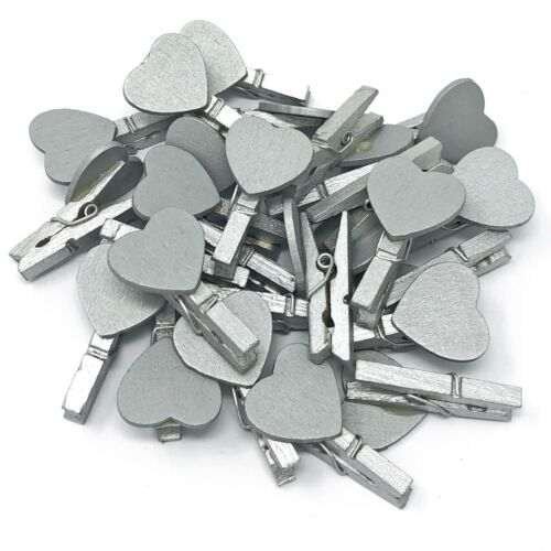 30mm Silver Mini Clothes Pegs /& 18mm Silver Hearts Craft For ShabbyChic Wedding