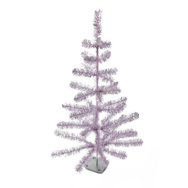 Kurt Adler 36 Metallic Pink And Silver Faux Feather Tabletop Christmas Tree