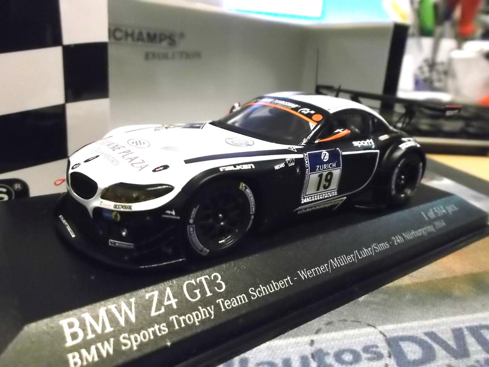 BMW z4 gt3 24h Nürburgbague 2014  19 Schubert Werner  Muller Luhr Minichamps 1 43  le plus récent