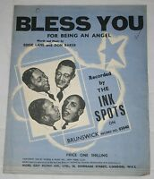 THE INK SPOTS - BLESS YOU For Being An Angel. (UK, 1939, SONG SHEET)