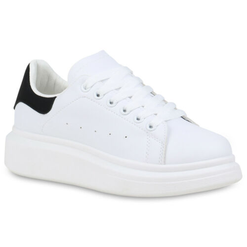 Damen Plateau Sneaker Sportliche Schnürer Prints Keilabsatz 834772 Schuhe