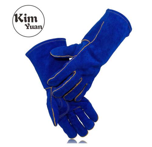 KIM YUAN Blue Leather Heat//Fire Resistant Welding Work Gloves Mens 14 INCHS