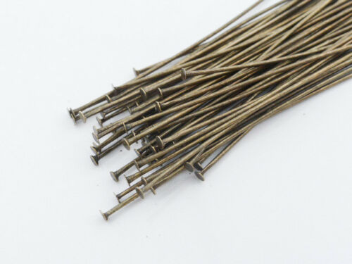 50 x laiton Headpins antique bronze 50 mm Long Findings PINS BIJOUX F51