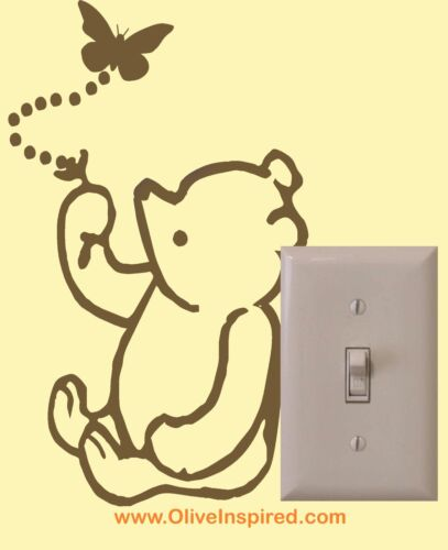 Classic Winnie the Pooh Light Switch Art Vinyl Wall Decal Nursery Decor Sticker