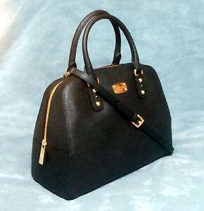 0ddce73a3a41 Michael Kors Saffiano Leather LG Satchel Bag Black 35S3GSAS3L