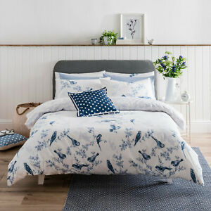 Cath Kidston British Birds Blue 100% Cotton 200 TC Bed Quilt Duvet Cover Set