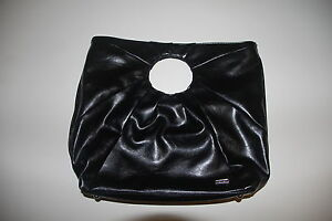 REVIEW-black-vinyl-handbag-38cm-x-33cm-EUC