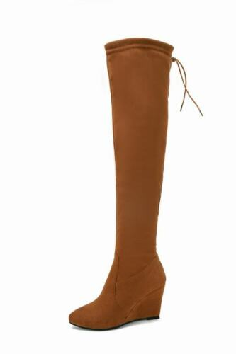 Elegant Ladies Wedge Talons Hauts Over the Knee Side Zip Faux Suede Casual Boots