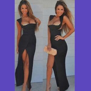 Vestiti Eleganti Scollati.Vestito Elegante Lungo Donna Nero Sexy Abito Cerimonia Scollato
