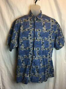 Aftco-Bluewater-Cotton-Abstract-Blue-Marlin-Men-039-s-SS-Shirt-Tags-Missing