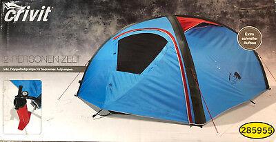 Crivit 2 Personen Zelt Campingzelt Trekkingzelt aufblasbar  incl.Doppelhubpumpe