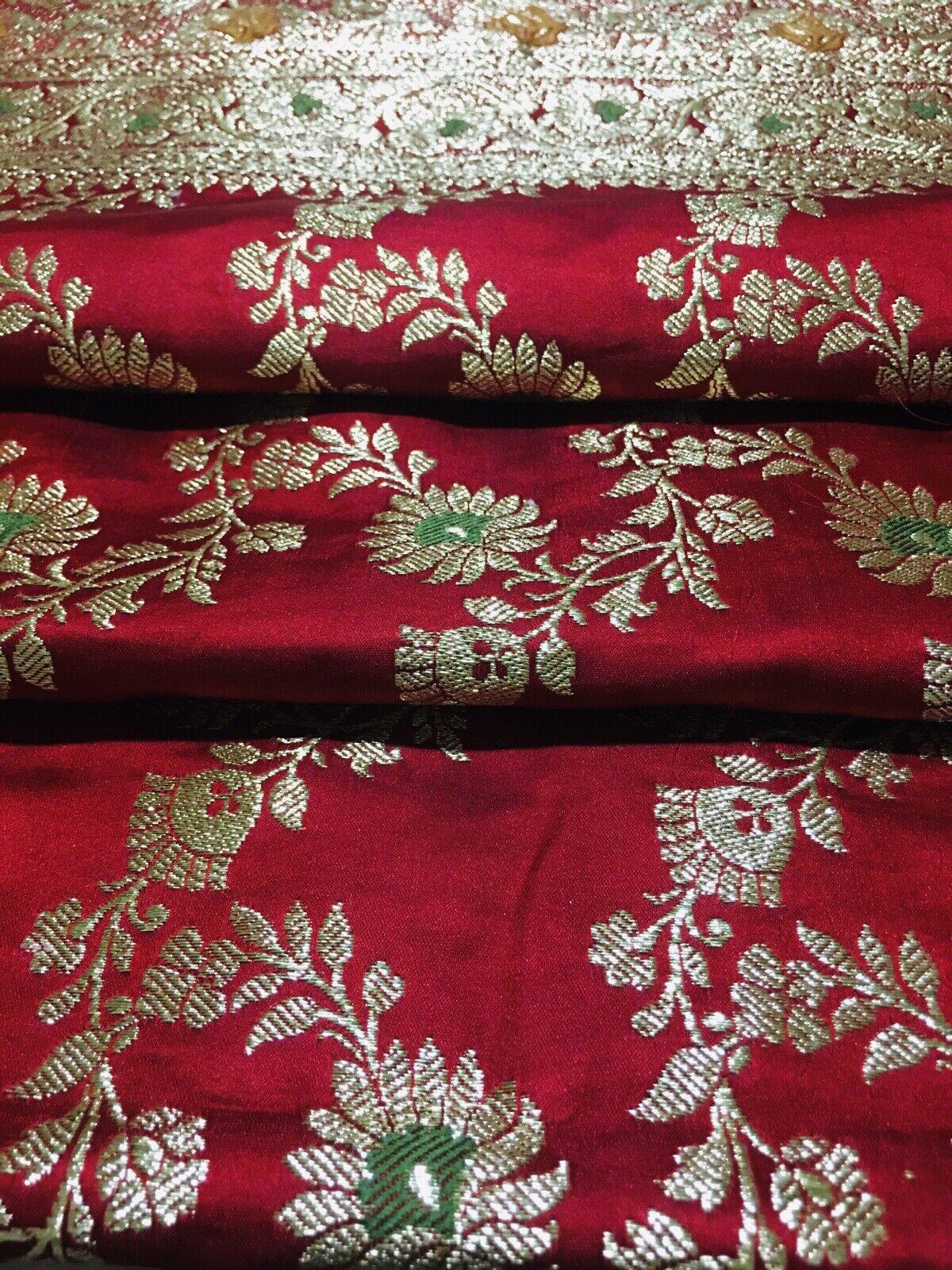 Pure Banarasi Wedding Saree, Red & Gold Colours with Matching Dupatta