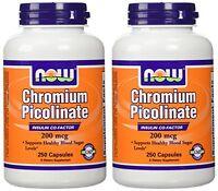 NEW Now Foods Chromium Picolinate 200mcg 250 Capsules 2 pack FREE SHIPPING