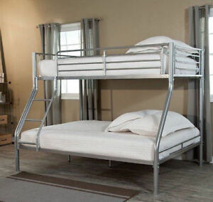 Bunk Bed Twin Over Full Double Loft For Kids Bedroom Furniture Metal With  Stairs