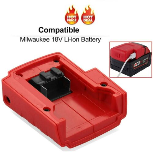 USB Battery Charger Adapter Converter Accessories for Milwaukee 49-24-2371 M18