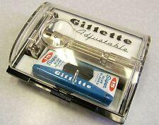 Vintage Gillette 195 Fat Boy Safety Razor Set w Case NOS Blue Blades E-4 1959