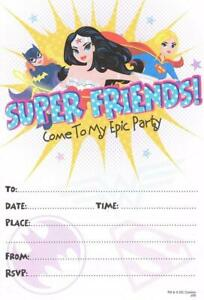 JUSTICE-LEAGUE-WONDER-WOMAN-SUPERGIRL-BATGIRL-PACK-OF-10-PARTY-INVITATIONS-NEW