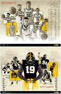 details about 2019 iowa hawkeyes basketball football poster combo fast shipping