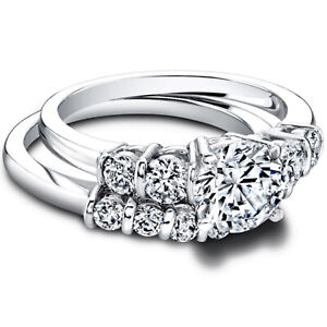 1.50 Ct Round Certified Moissanite Band Set 14K Solid White Gold Wedding Ring
