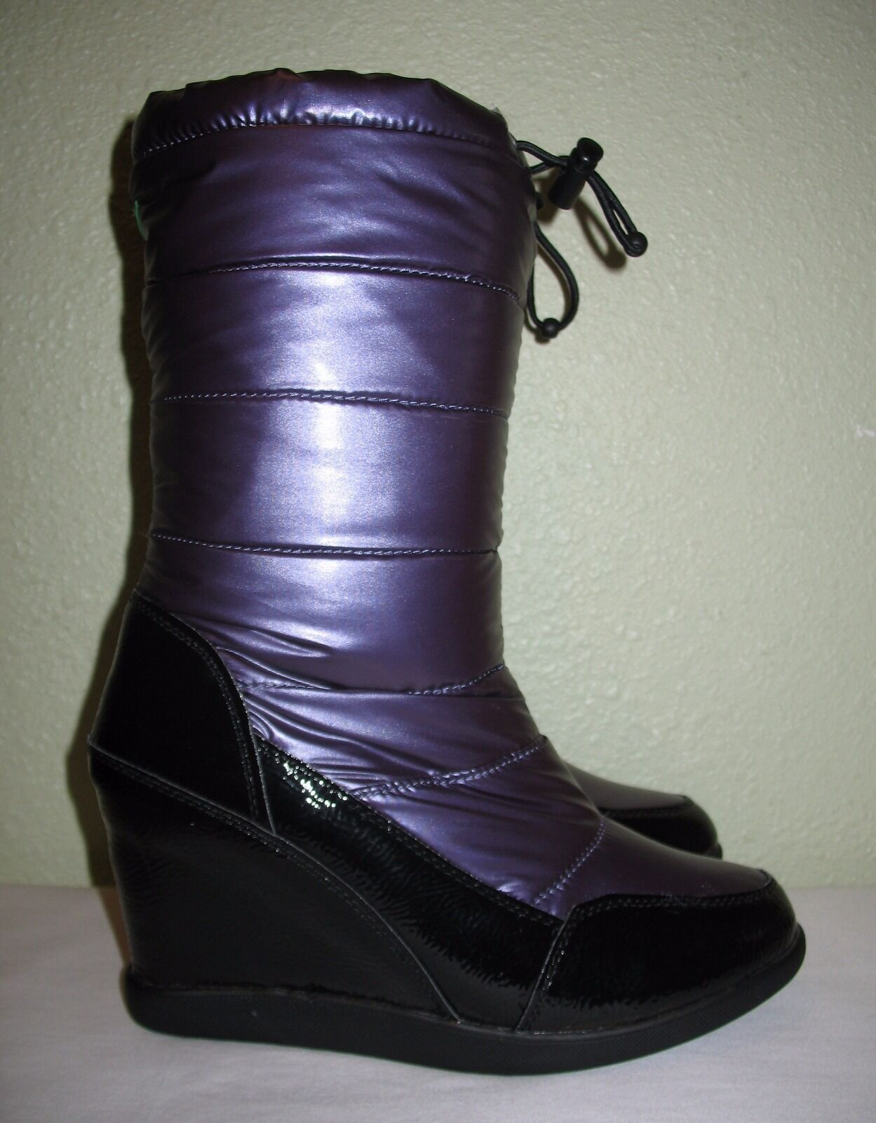 WOMENS PURPLE COUGAR SNOW RAIN WINTER WATERPROOF WEDGE BOOTS US 11