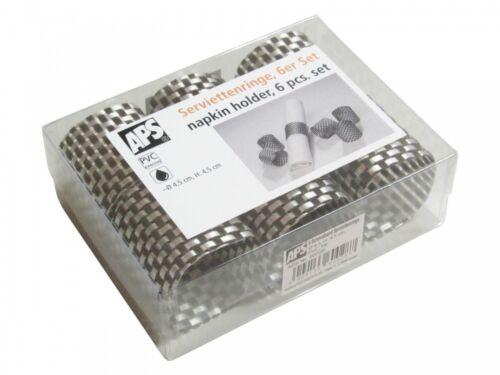 Schmalband Farbe: silberg 6 er Set Ø 4,5 cm APS Serviettenringe H: 4,5 cm PVC