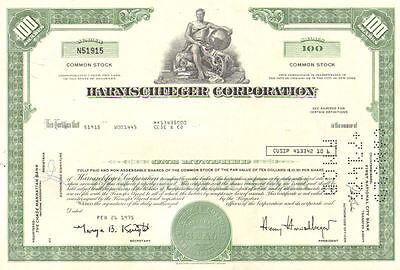 Harnischfeger /> 1970s /> now Joy Global oil and gas stock certificate