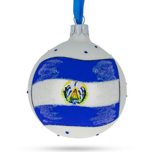 Flag of El Salvador Glass Ball Christmas Ornament