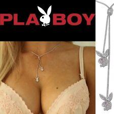 Playboy Jewelry Set Bunny Necklace Earrings Bracelet Swarovski Crystal Silver 3p