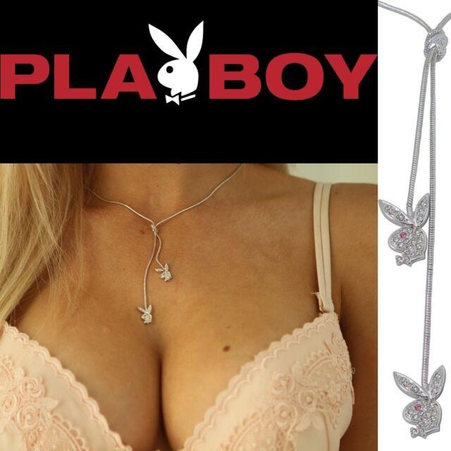 Playboy Y Necklace Swarovski Crystal Bunny Charm Silver Platinum Plated Lariat 2