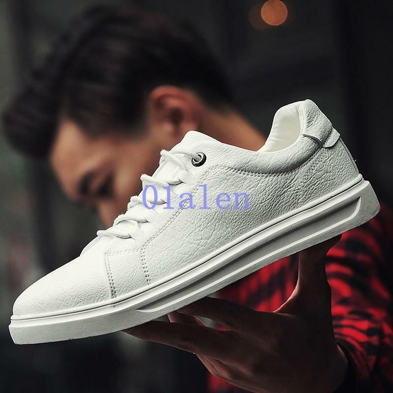 Fashion Mens Board shoes Leather Sneakers Lace Up Round Toe Flats Breathable New