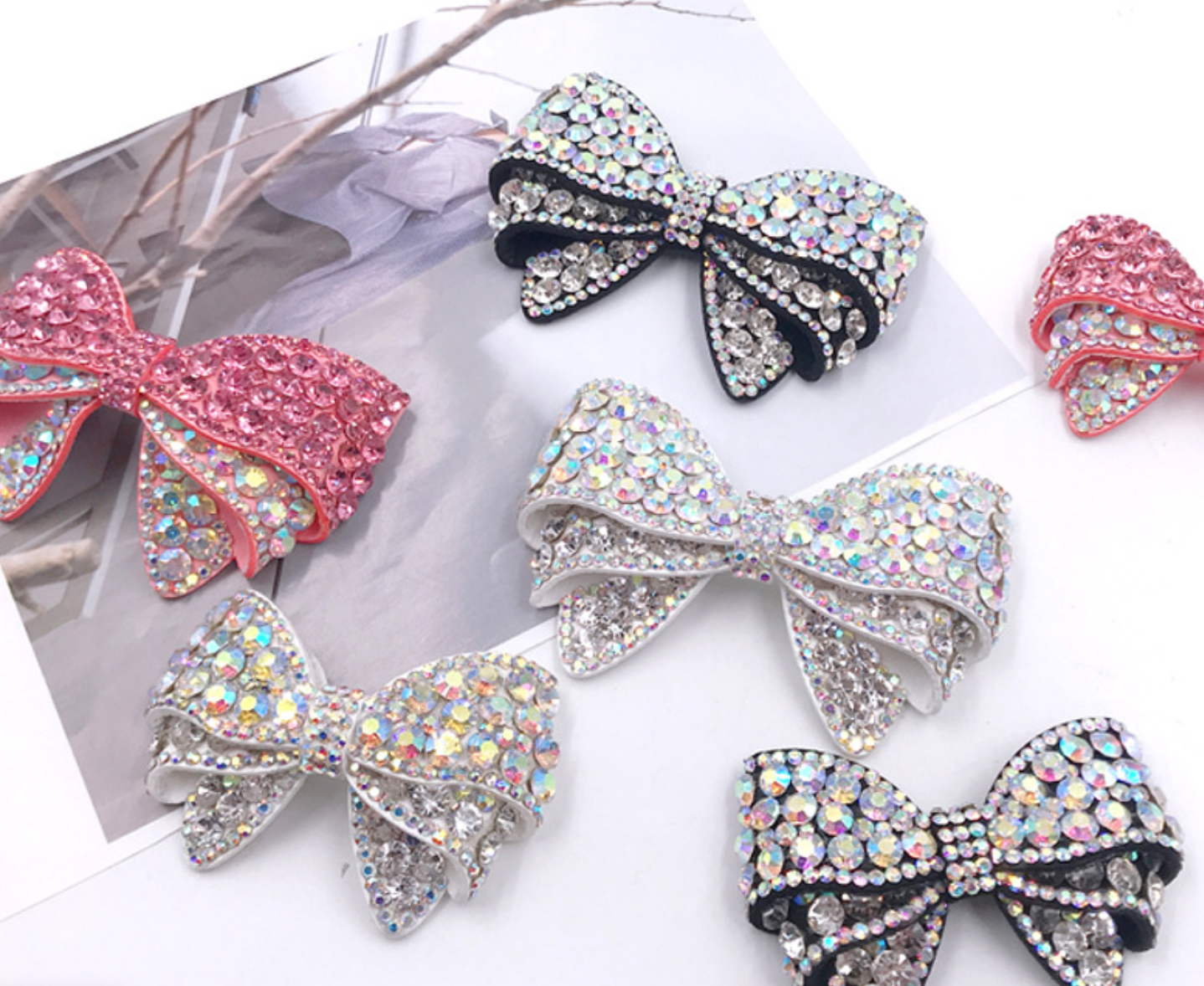2 Pcs Pink Or Clear Or Black Crystal Bow High Heel Shoe Clips Decoration
