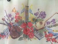 Vintage Silk Screened Floral Needlepoint Canvas 39x18 12ctfree Usa Ship