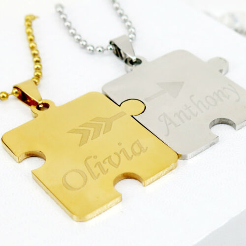 Personalized Puzzle Necklace Matching Puzzle Couple Necklace for his and her