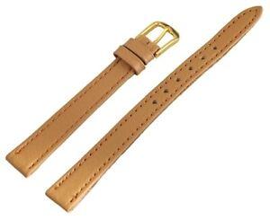 Echt-Leder-Uhren-Armband-Braun-Gold-10-mm-Dornschliesse-Ersatzband-X813276760010
