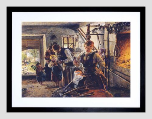 PAINTING PORTRAIT WALDMUELLER BLACKSMITHS BLACK FRAMED ART PRINT B12X12701