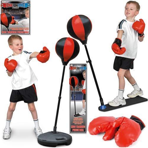 Bambini Set Boxe Punch Ball Bag /& Guanti KIT fitness esercizio Compleanno Regalo Confezione