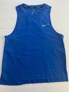 Nike-Womens-Dry-Miler-Blue-Reflective-Running-Tank-Top-Shirt-DRI-FIT-Medium