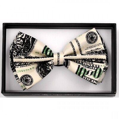 UNISEX ADJUSTABLE WEDDING TUXEDO BOW TIE ~ BENJAMIN MONEY HUNDRED DOLLAR BILL $