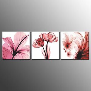 FRAMED-CANVAS-PRINT-Wall-Art-Transparent-Flower-Paintings-For-Home-Decor-3pcs