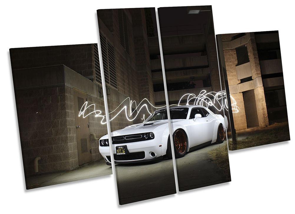 Dodge Challenge quatre voiture blanche encadrée Toile imprimer quatre Challenge Panel Wall Art 9b16fb